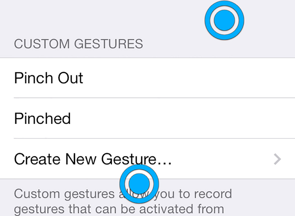 Using a gesture in Assistive Touch on iPhone