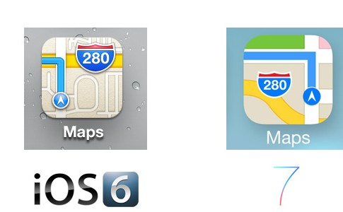 Maps iOS 7 Icon Comparison