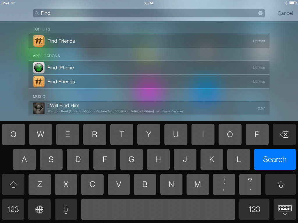 Spotlight iOS 7 iPad