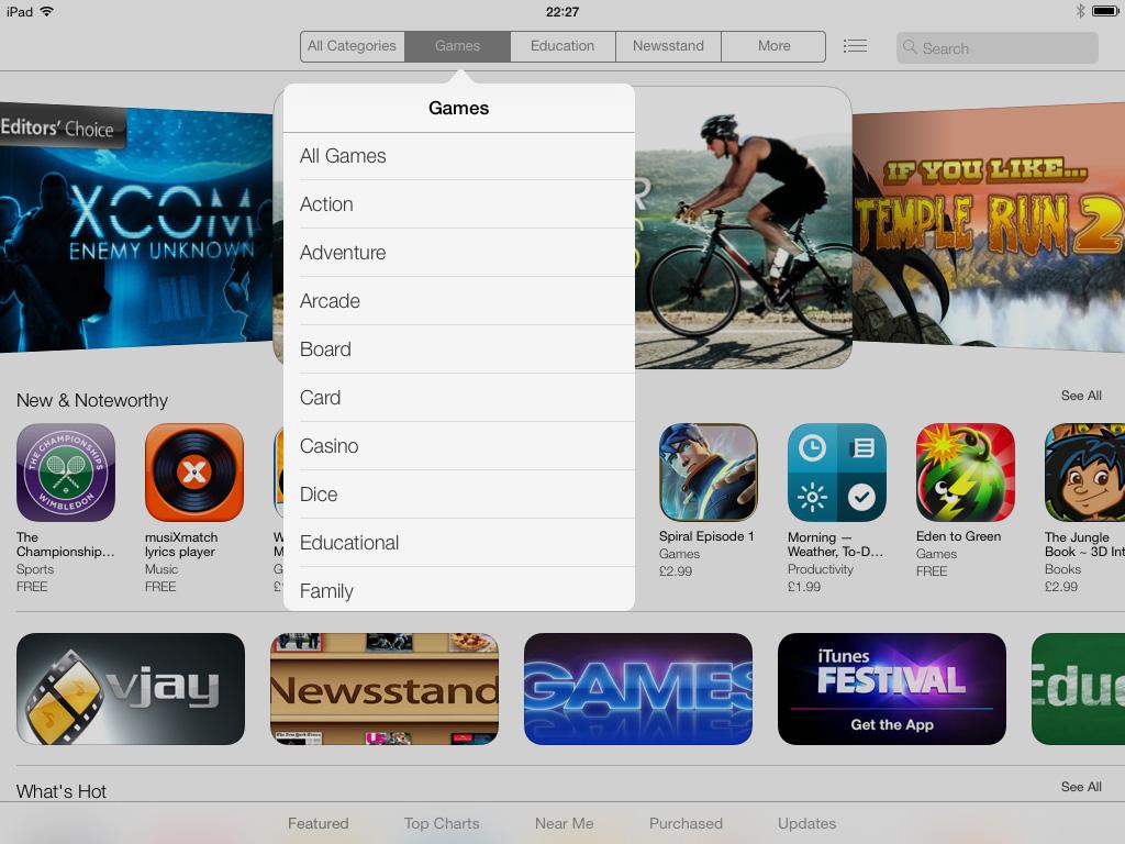 iOS 7 App Store app iPad