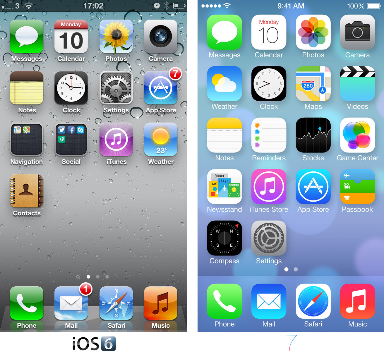 iOS 7 home screen comparison
