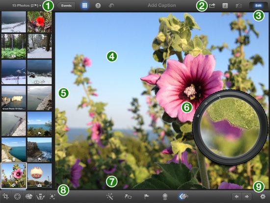 iPhoto iPad Interface