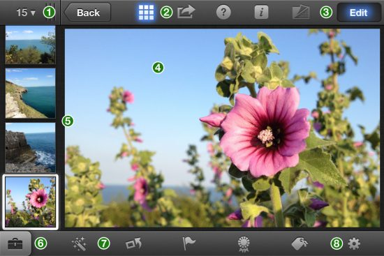 iPhoto iPhone Interface