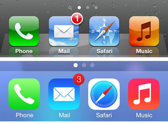 ios 7 dock and notification comparison