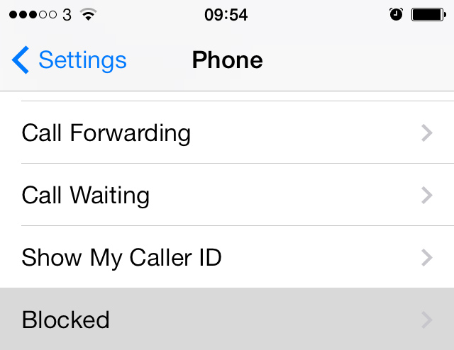 Block Calls iPhone iOS 7
