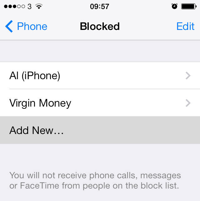 Blocked contacts on iPhone