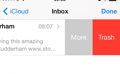 Email swipe options iOS 7