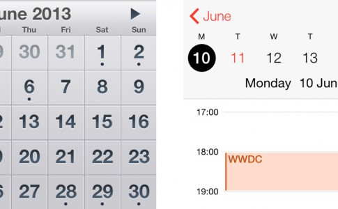 calendar comparison iOS 7 2