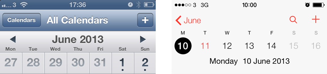 calendar comparison iOS 7