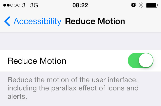 iOS 7 Reduce Motion setting