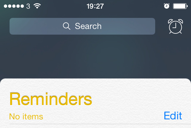 iOS 7 beta 4 Reminders app