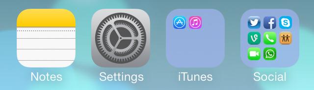 iOS 7 beta 4 folders