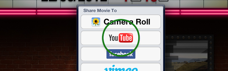 iMovie YouTube button
