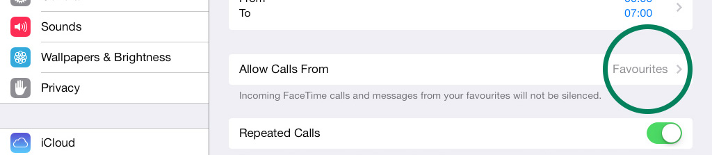 All Calls From Do Not Disturb iPad iOS 7