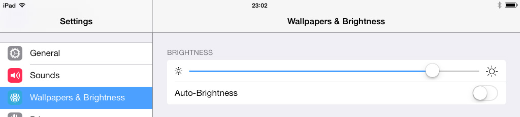Brightness setting iPad iOS 7