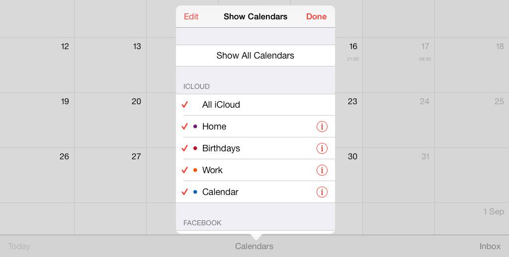 Calendar iCloud iOS 7