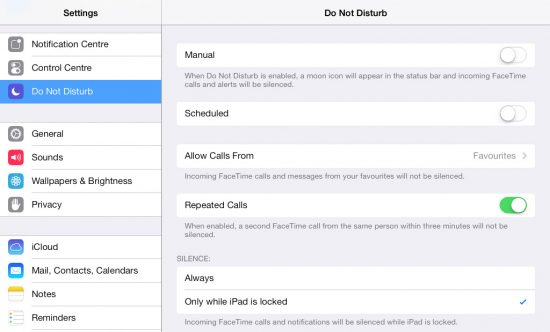 Do Not Disturb iPad iOS 7