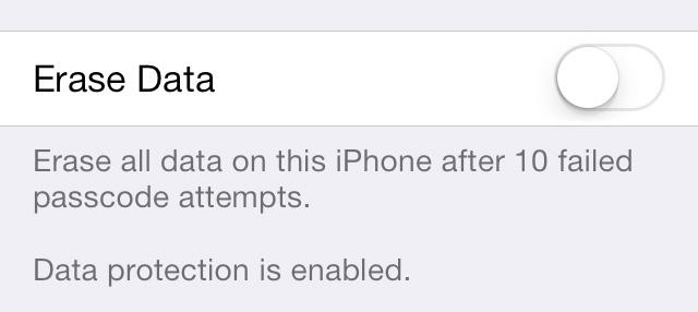 Erase Data iOS 7 iPhone