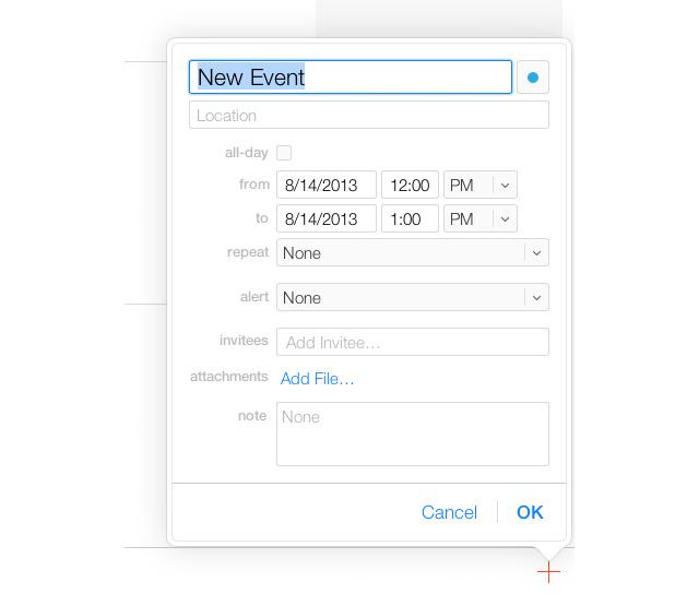 New Event Menu iCloud iOS 7