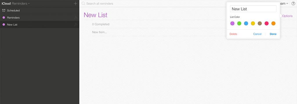 Reminders iCloud iOS 7