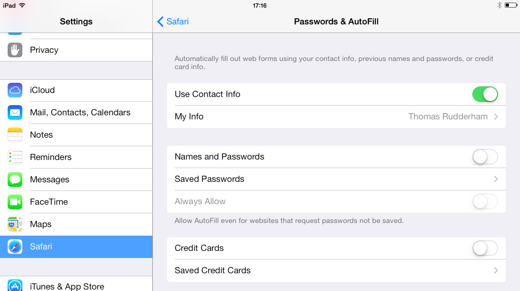 Safari Passwords AutoFill Settings iPad iOS 7