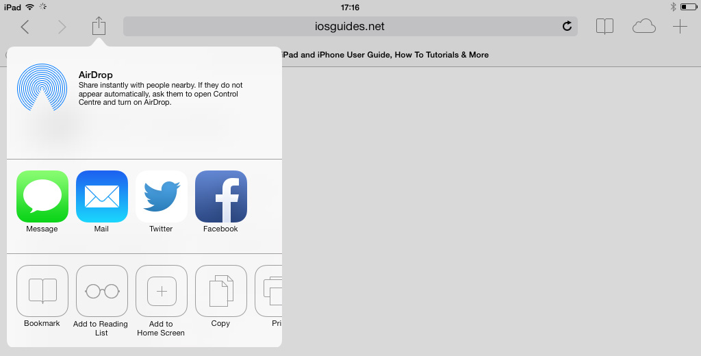 Safari Share iOS 7 iPad
