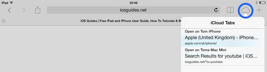 Safari iCloud Tabs iOS 7 iPad