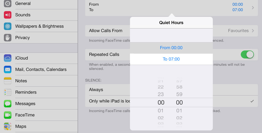 Schedule Do Not Disturb iPad iOS 7