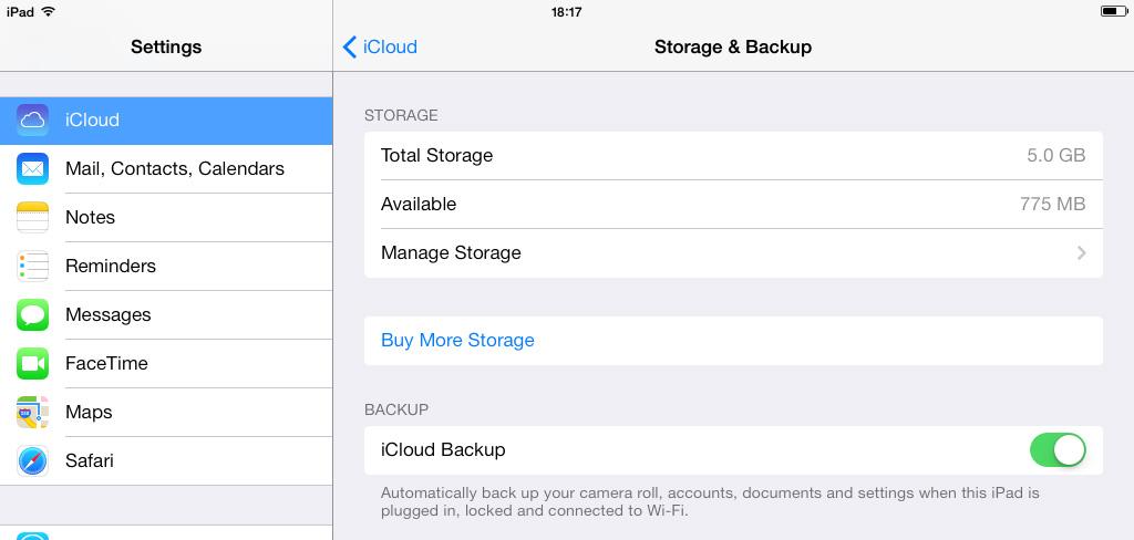 Storage Backup iCloud iOS 7
