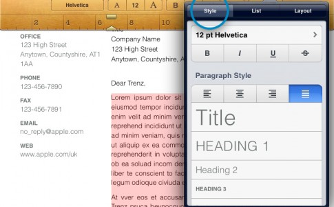 Text alignment iPhone iPad Pages