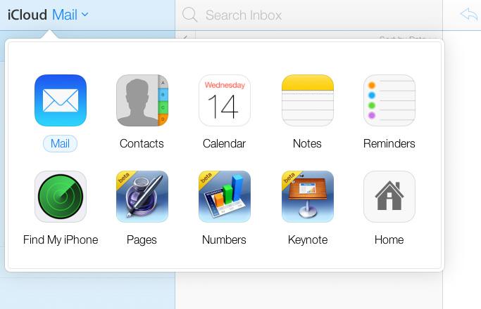 iCloud Menu iOS 7