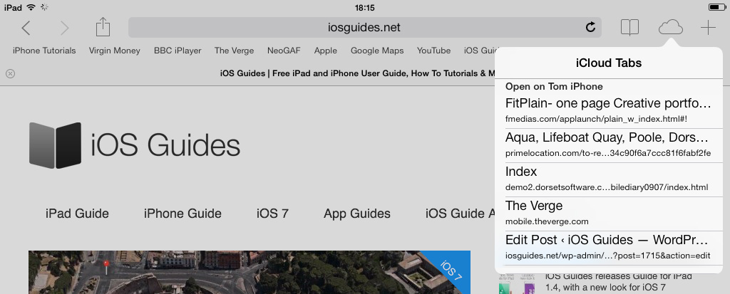 iCloud Safari tabs iOS 7
