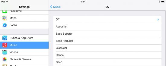 iOS 7 iPad Equalizer Settings
