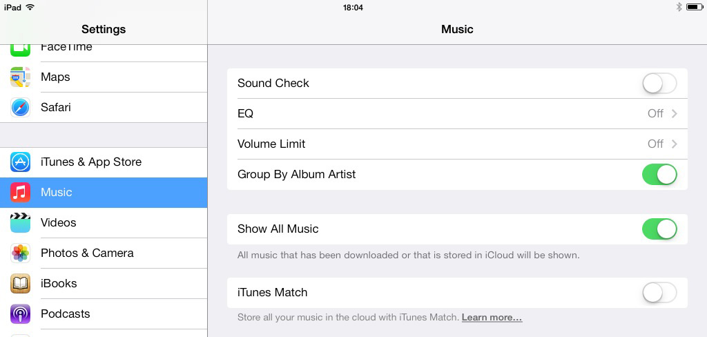 iOS 7 iPad Music Settings