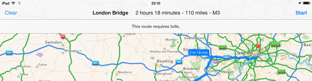 iPad Maps App iOS 7 Route Details