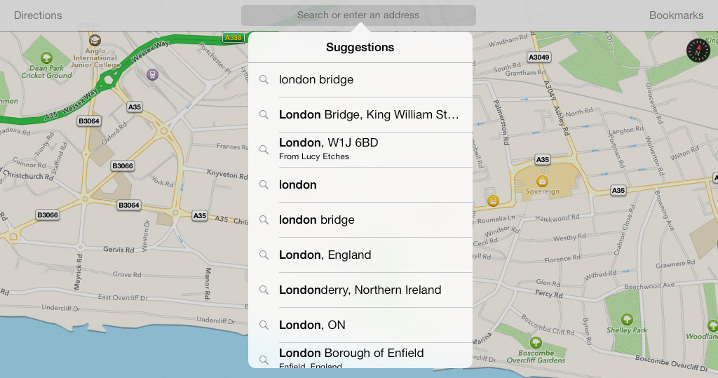 iPad Maps Navigation Suggestions