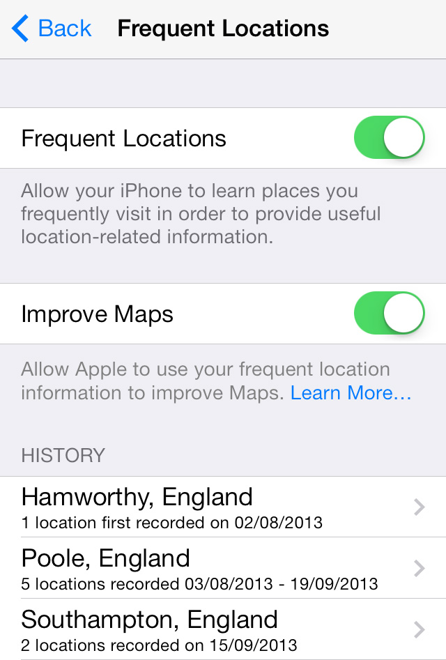 Frequent Locations Settings iOS 7