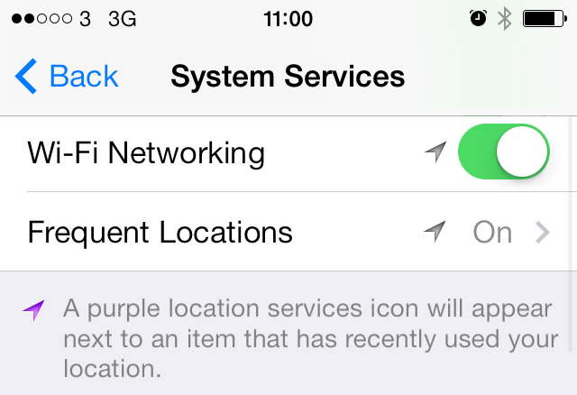 Frequent Locations button iOS 7