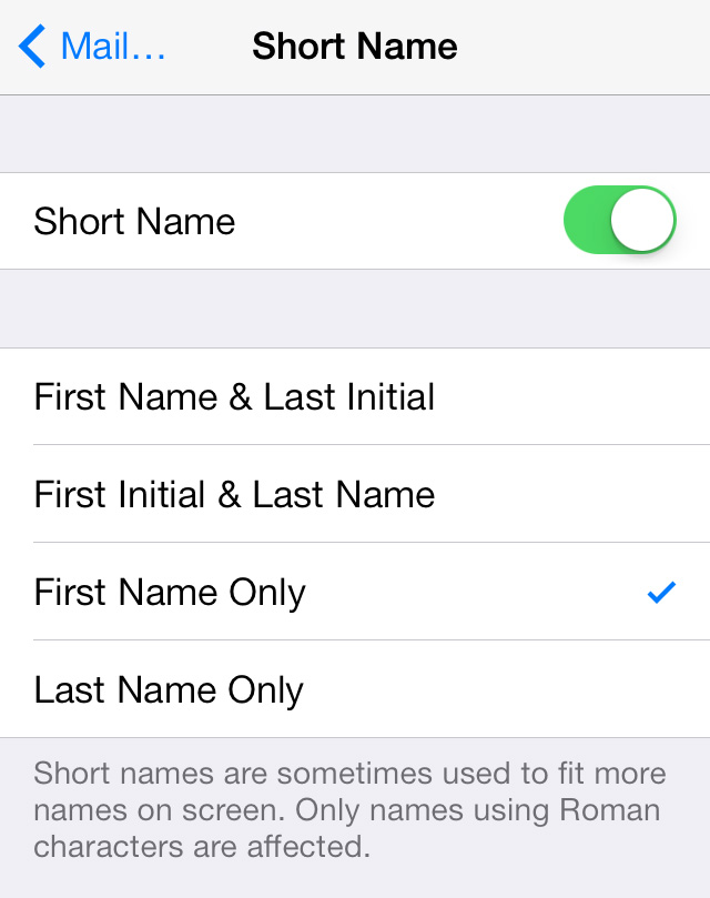 Short Names Settings iOS 7