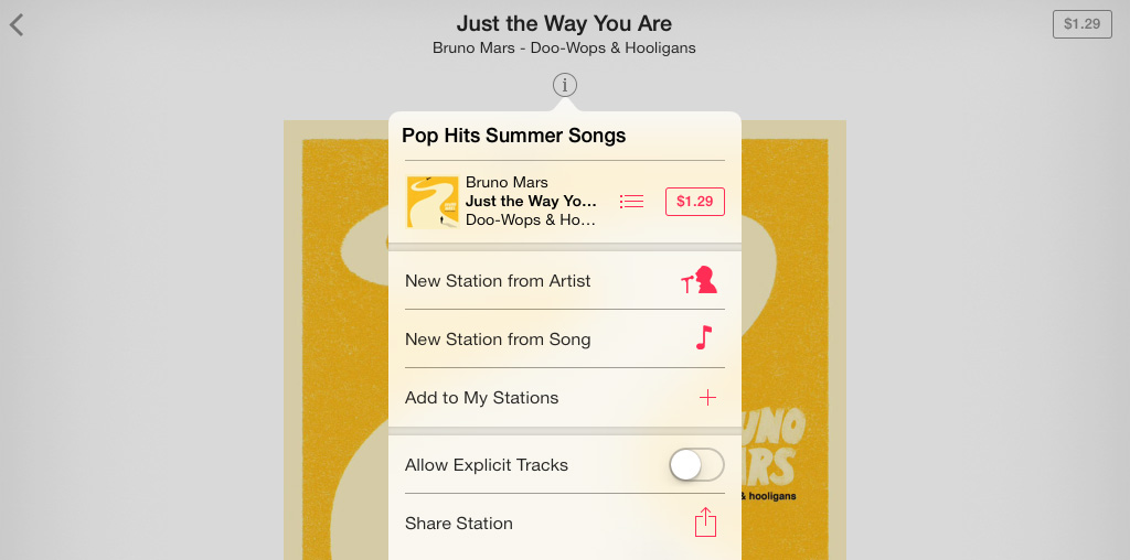 Station Info iTunes Radio