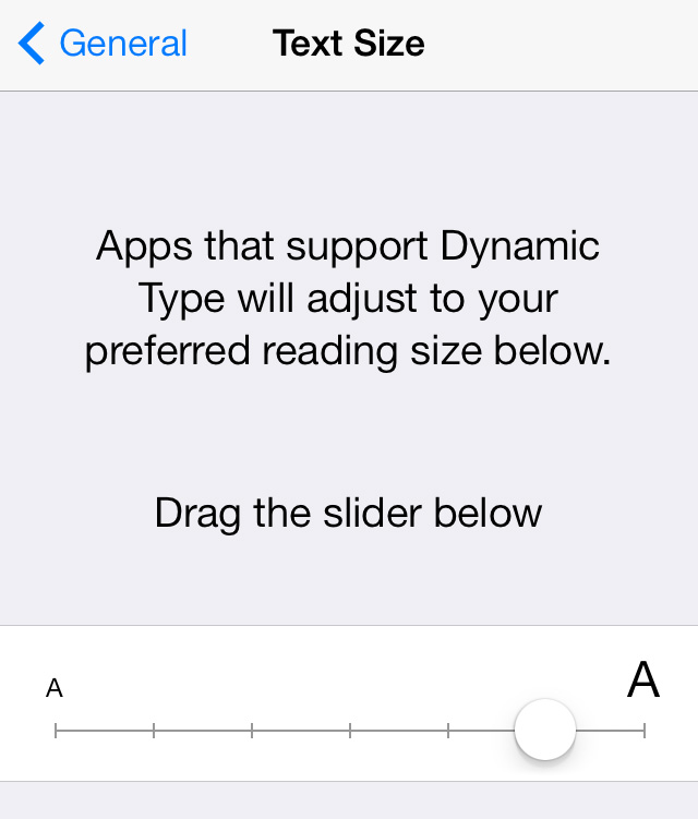 iOS 7 Text Size Dynamic Text setting