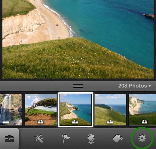 iPhoto settings wheel