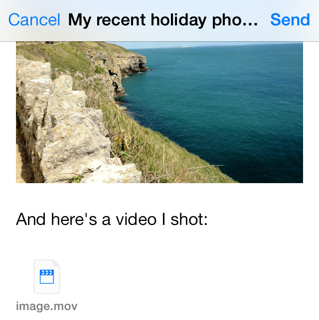 Attach video Mail iOS 7