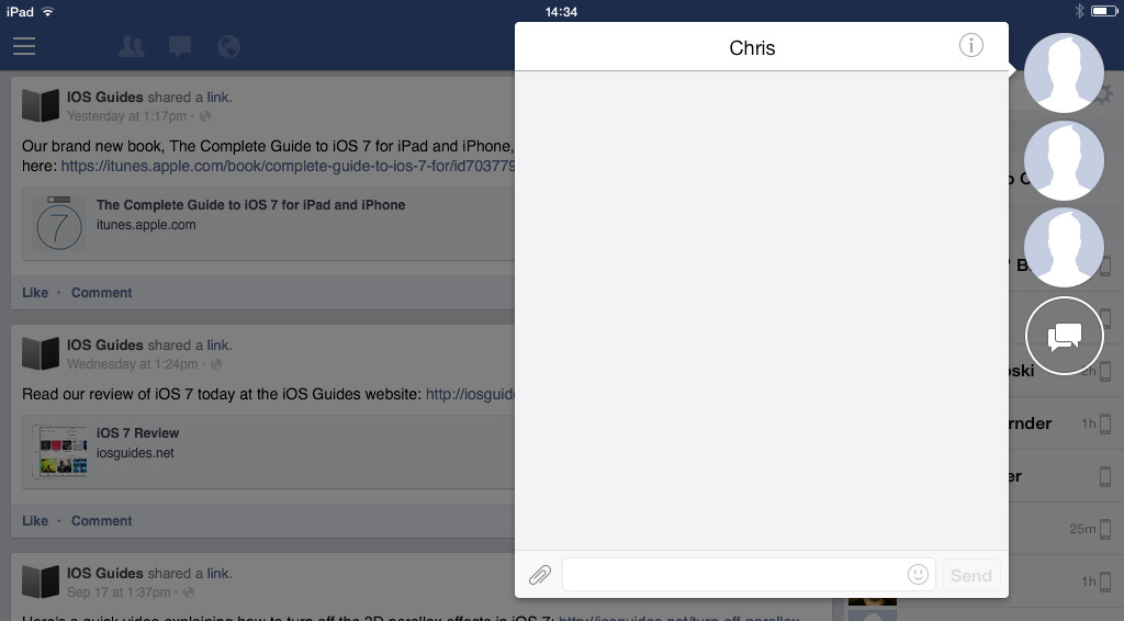 Facebook chat iPad