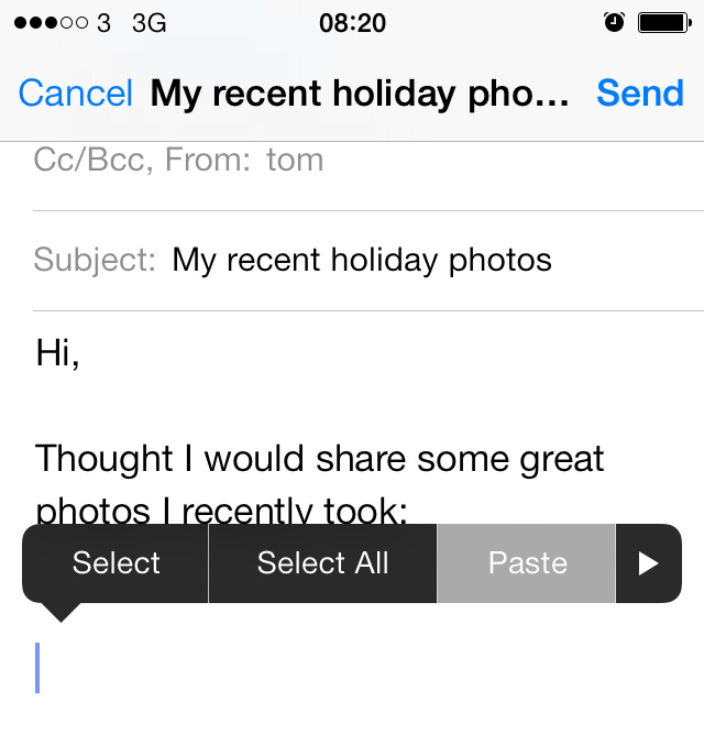 Paste into Mail iOS 7