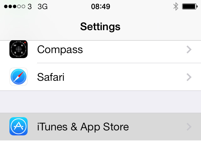 Settings App Store iOS 7