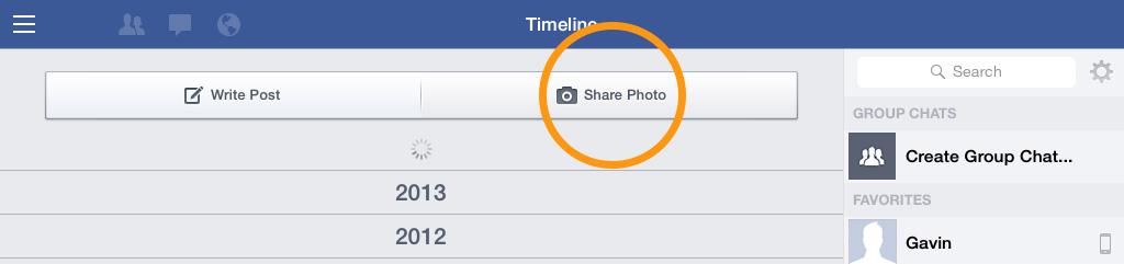 Share photo Facebook iPad