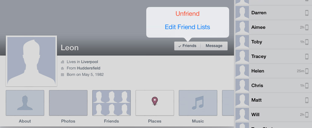 Unfriend Faceboook iPad