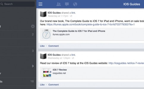 iPad Facebook app sidebar
