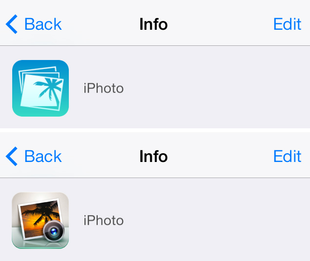 iPhoto iOS 7 Icon Comparison